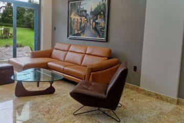 Ghế sofa da F021, Bàn trà Noguchi – Anh Vinh tại Tân Bình