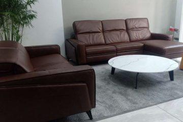 Sofa da thật FE10, Bàn trà BaBa – Nhà cô Loan tại Bình Thạnh