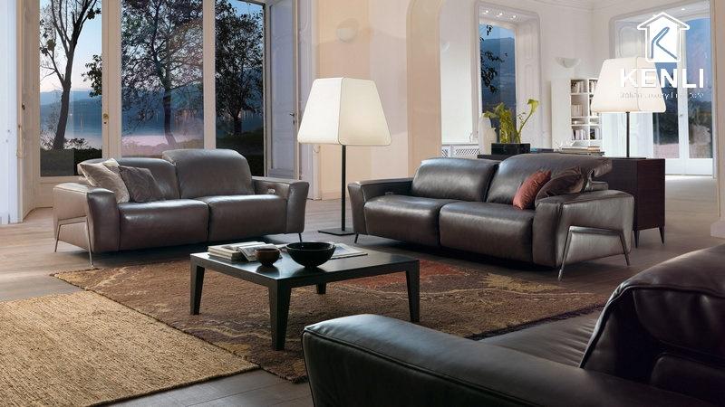 Sofa da thật Ý cao cấp màu nâu đen