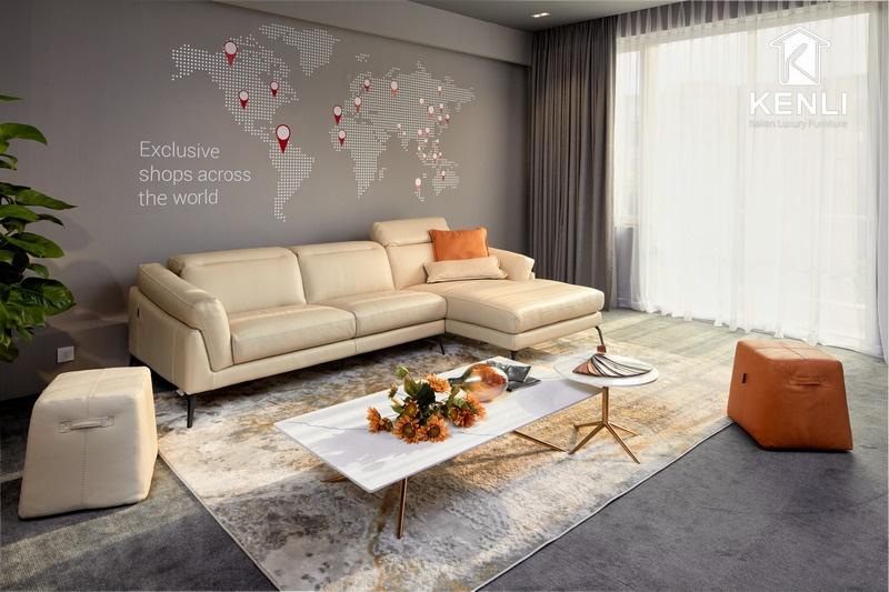 Sofa da nhập khẩu Ý tại Showroom Kenli