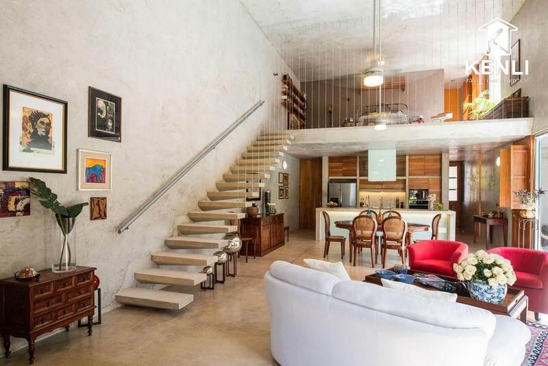 Thiết kế phòng khách có cầu thang