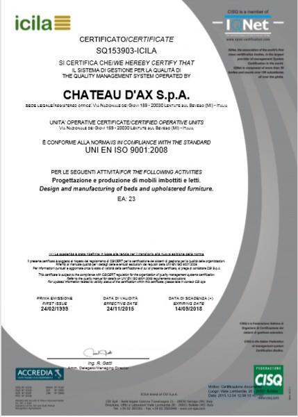 Chứng chỉ của Chateau d'Ax