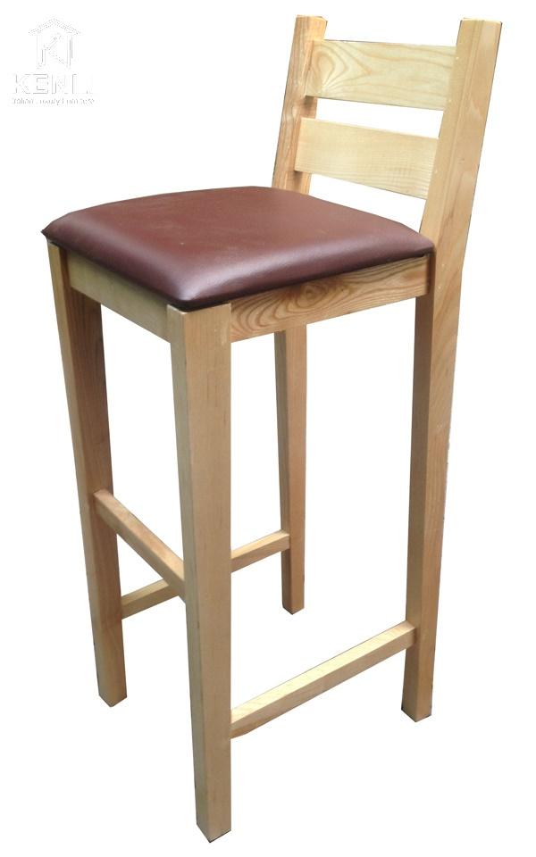 Ghế quầy bar tựa gỗ bọc da