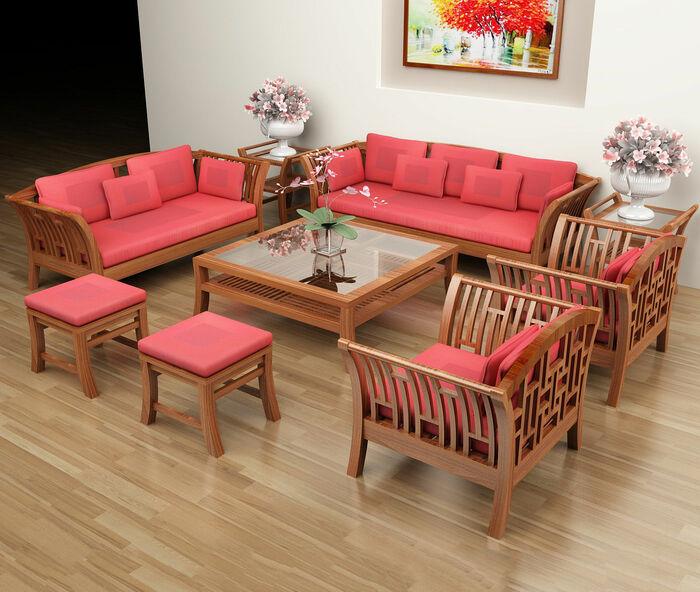 Bàn ghế gỗ phòng khách đơn giản thường phù hợp với những không gian cổ
