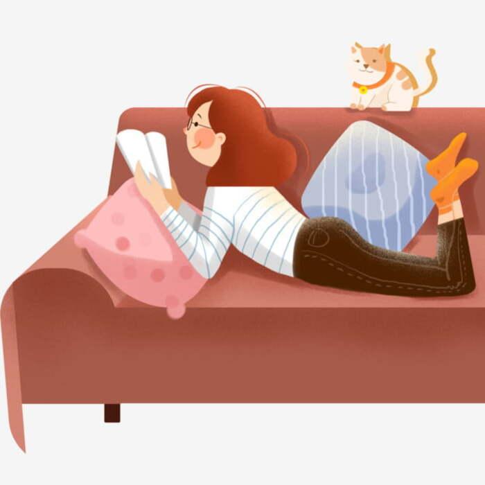 Sao bạn không thử nằm dài trên sofa đọc sách