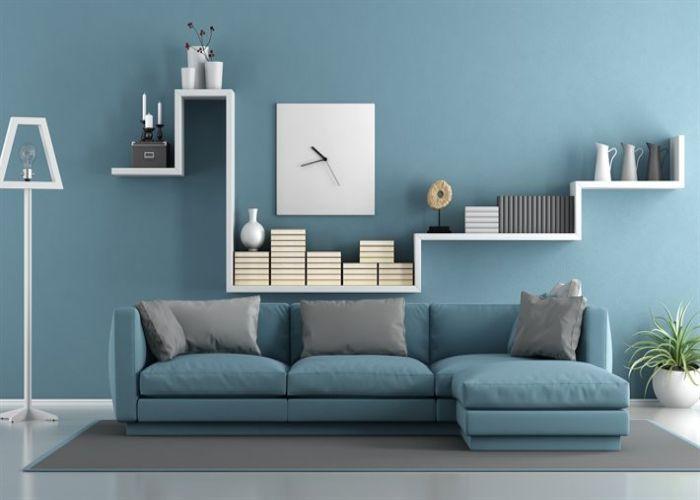 Bộ Sofa L phong cách tối giản màu xanh pastel