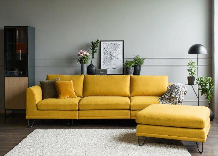Bộ Sofa phong cách tối giản màu vàng