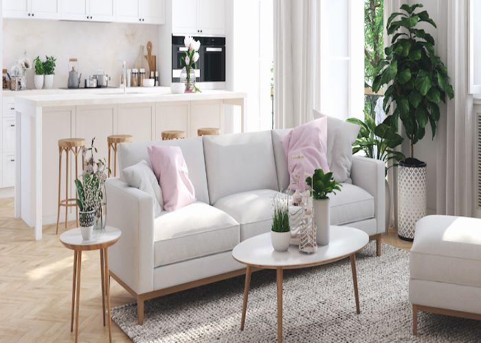 Mẫu Sofa ba phong cách tối giản màu trắng