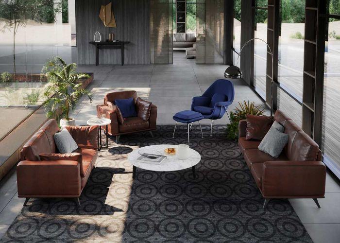 Mẫu Sofa bộ phong cách tối giản màu nâu