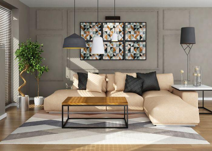 Mẫu Sofa chữ L phòng khách nhỏ lịch sự