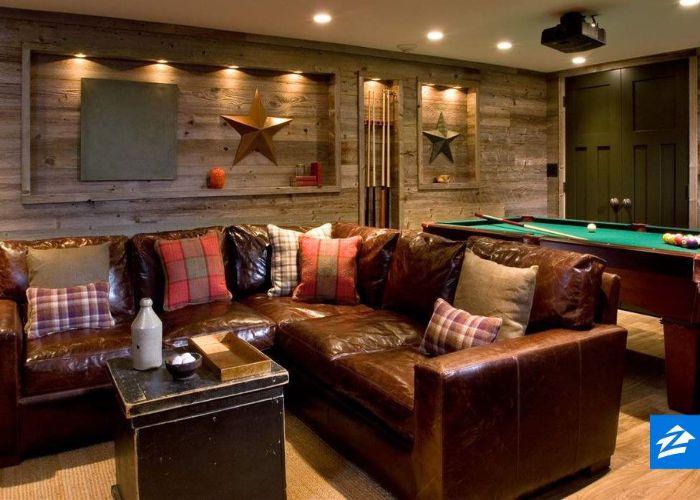 Mẫu Sofa da thật phong cách Rustic quán bida