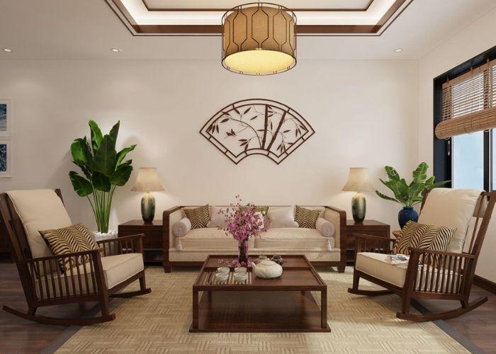 Mẫu Sofa đôi chân gỗ truyền thống phòng khách