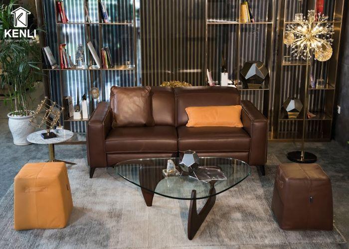 Mẫu Sofa đôi phong cách Rustic phòng khách nhỏ