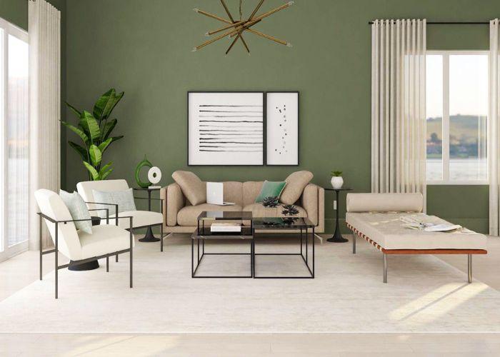 Mẫu Sofa đôi phong cách tối giản màu kem