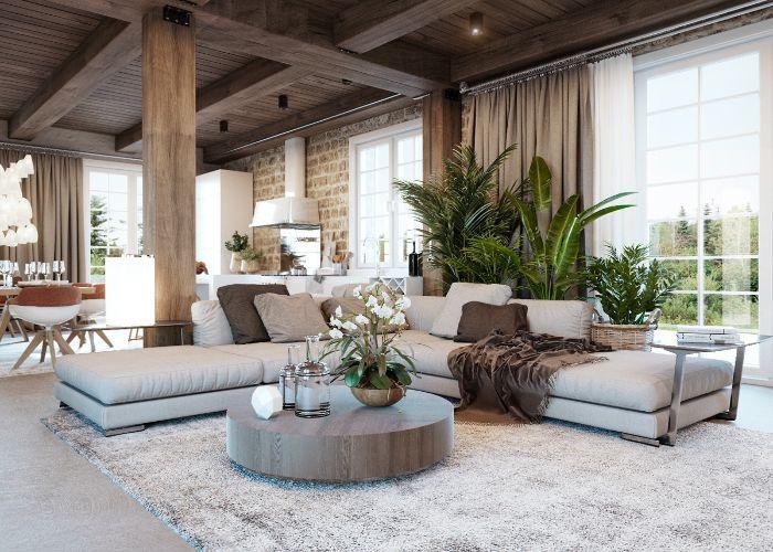 Mẫu Sofa góc phong cách Rustic phòng khách mở