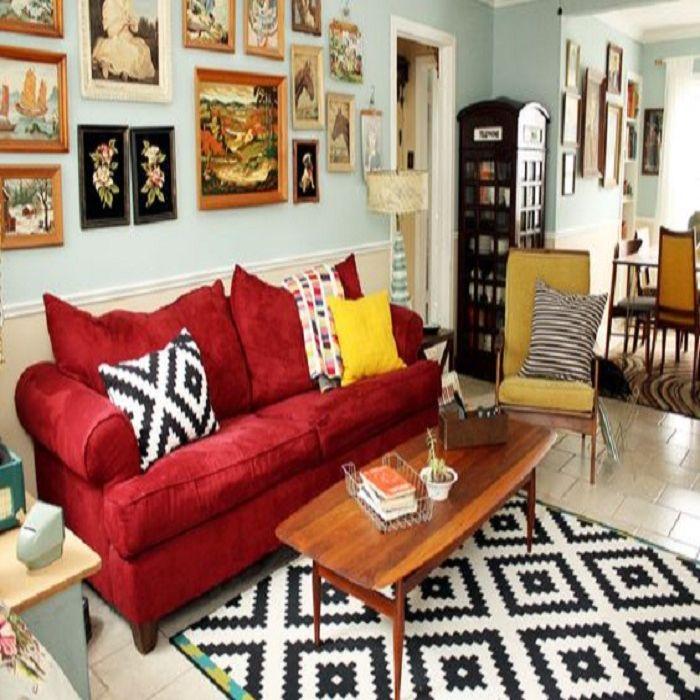 Mẫu Sofa phong cách Retro màu đỏ sậm