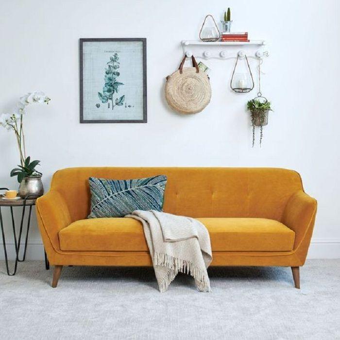 Mẫu Sofa phong cách Retro màu vàng đậm