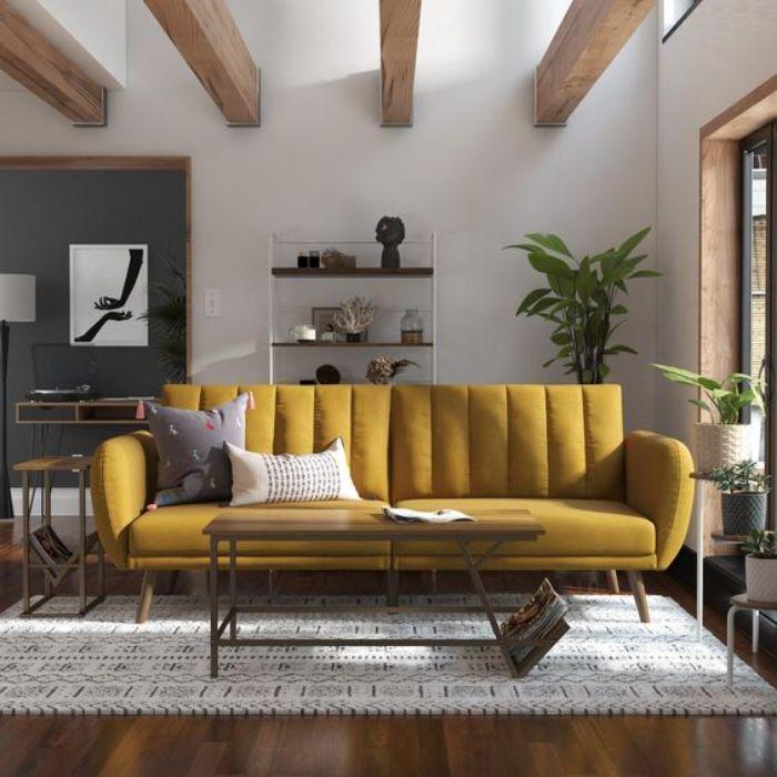 Mẫu Sofa phong cách Retro màu vàng nhạt