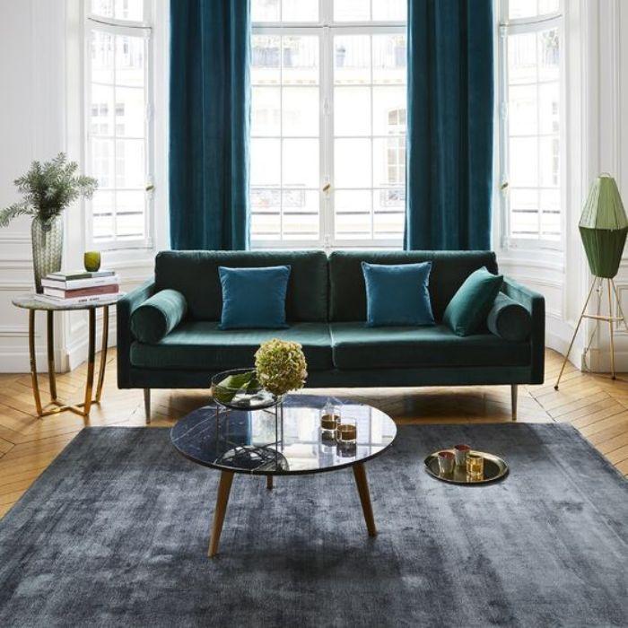 Mẫu Sofa phong cách Retro màu xanh đen