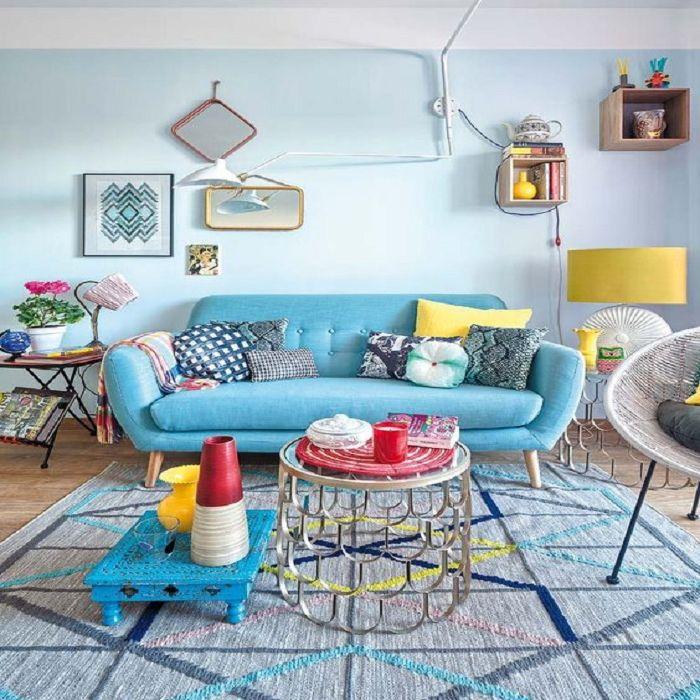 Mẫu Sofa phong cách Retro màu xanh pastel