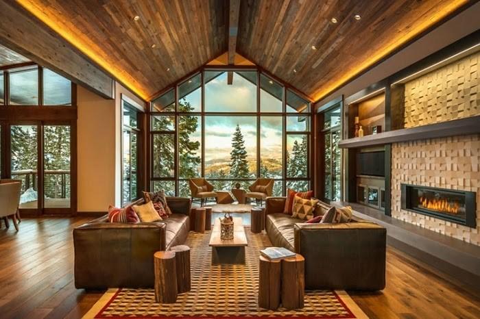 Căn phòng thêm đẹp mắt nhờ nội thất thiết kế Rustic và thiên nhiên bên ngoài