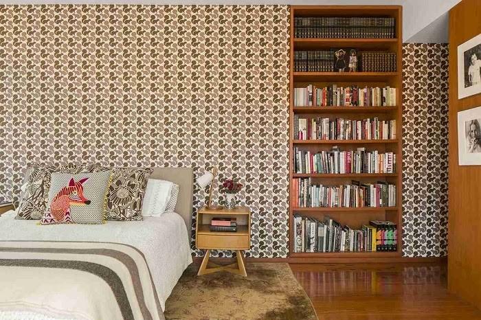 Giấy dán tường họa tiết dày thường hay được sử dụng trong phong cách nội thất này