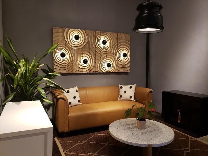Sofa vàng kem bằng da cao cấp cho phòng khách