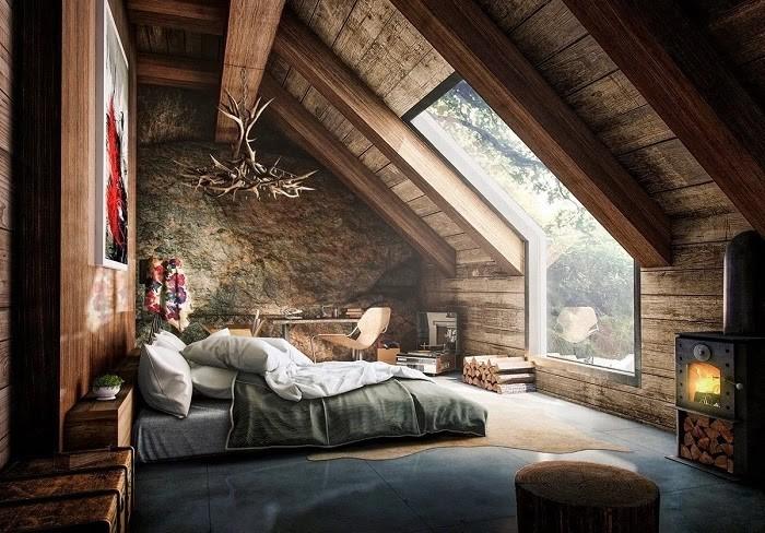 Nội thất phòng ngủ sang trọng với phong cách Rustic