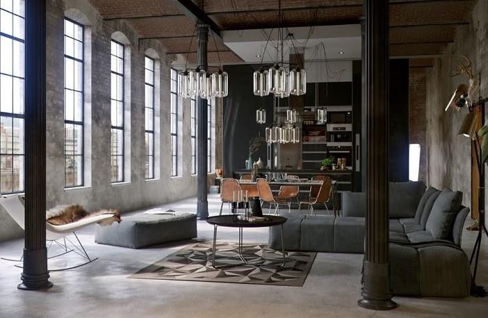 Phòng khách đậm chất Industrial