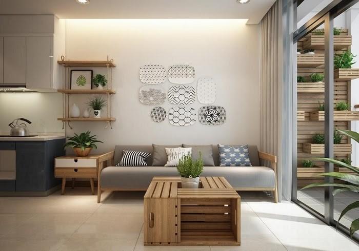 Phòng khách đơn giản được trang trí bằng chậu cây xanh