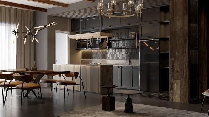 Phòng khách được thiết kế hiện đại và sang trọng