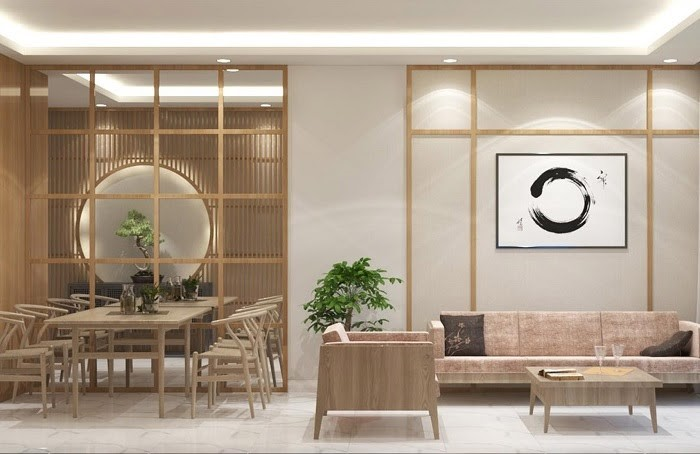 Phòng khách Nhật Bản tinh tế, thoáng đãng, hài hòa với tông màu nhẹ nhàng