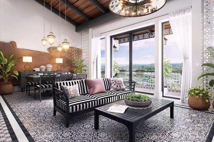 Phòng khách sử dụng gạch với họa tiết cầu kỳ