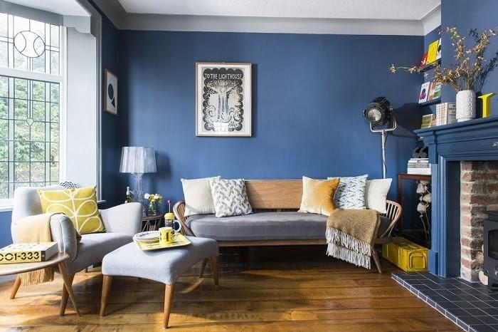 Phòng khách theo phong cách hoài cổ Bắc Âu với tông màu xanh cổ điển