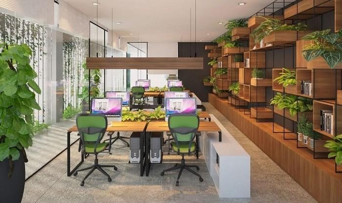Phòng làm việc với mảng xanh khắp nơi