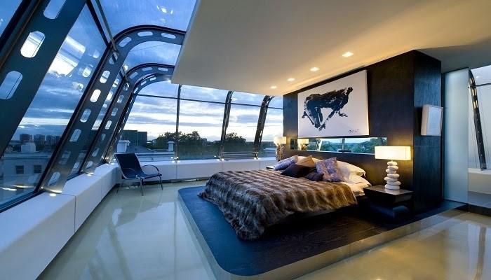 Phòng ngủ Hi-tech với tường kính sang trọng độc đáo