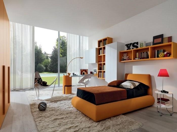 Mẫu phòng ngủ đậm chất Retro với tông màu đất kết hợp màu trắng