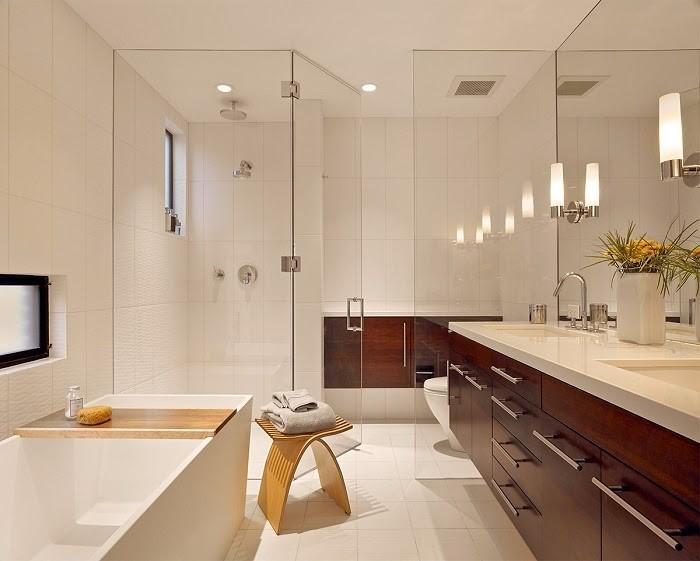 Phòng tắm đơn giản với 3 màu chủ đạo