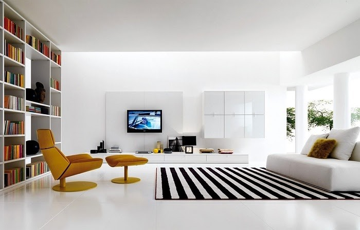 Thảm kẻ với 2 màu tương phản đen trắng nổi bật trong căn phòng