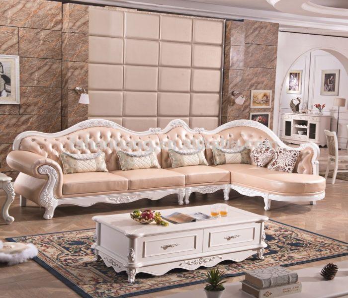 Bộ Sofa L phong cách cổ điển màu hồng nhẹ