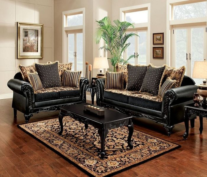 Bộ Sofa phong cách cổ điển màu đen
