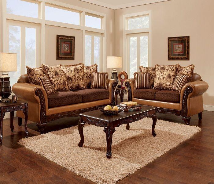 Bộ Sofa văng phong cách cổ điển màu nâu