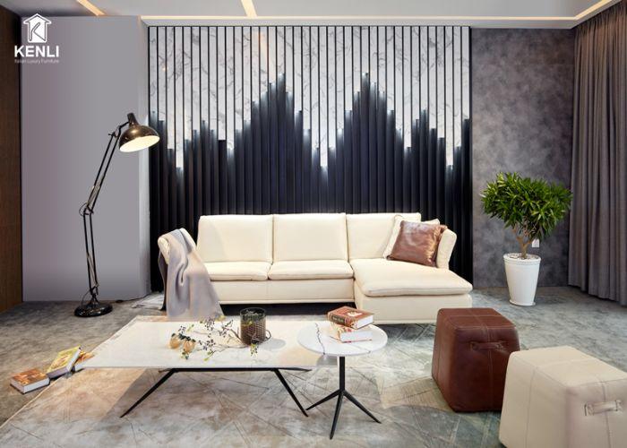 Mẫu Sofa L phong cách Eco màu kem