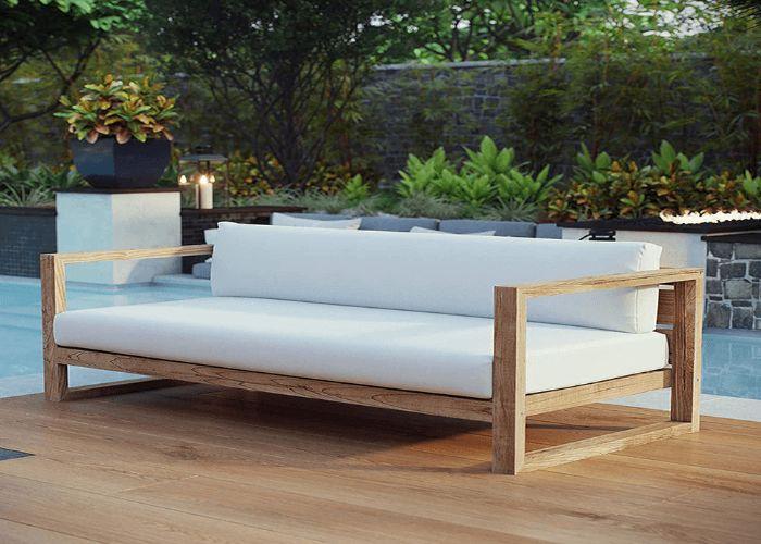 Mẫu Sofa băng dài phong cách Eco màu trắng