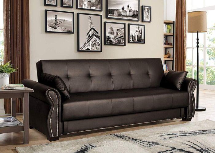 Mẫu Sofa đôi phong cách Eco màu đen da thật