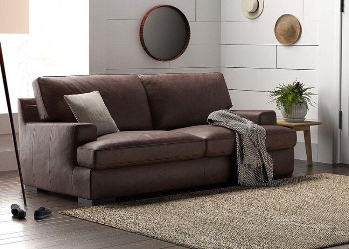 Mẫu Sofa đôi phong cách Eco màu nâu da thật