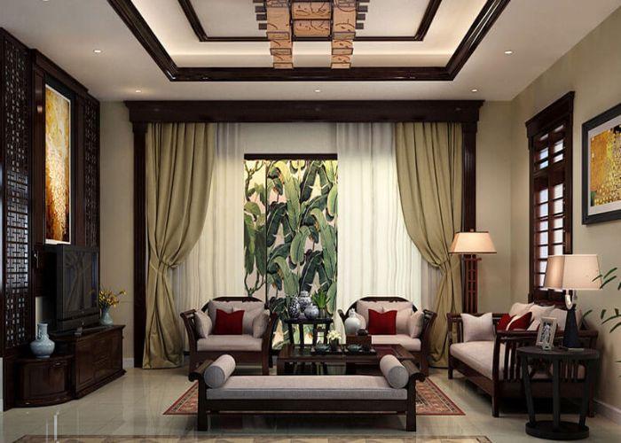 Phòng khách phong cách Indochine đầy ấm áp