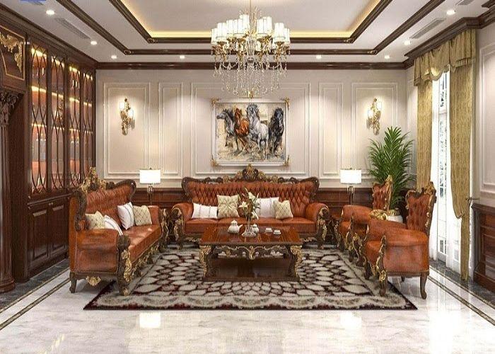 Phòng khách phong cách nội thất cổ điển quyền quý xa hoa