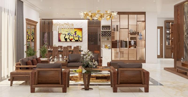 Phòng khách nhiều đồ gỗ giúp người mệnh Mộc có nhiều phúc khí