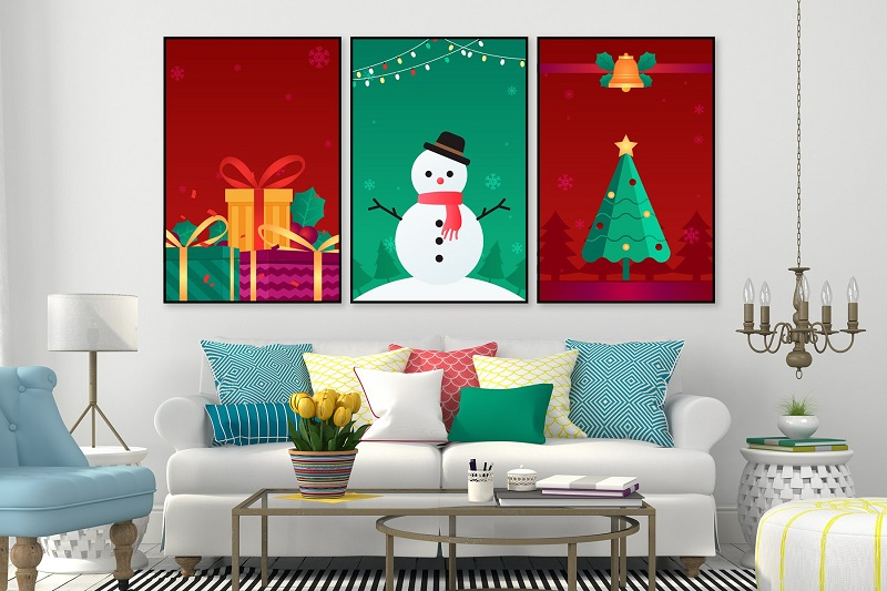 Trang trí phòng khách giáng sinh đơn giản với tranh